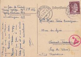 C FeldPostkarte (prisonnier) Obl. Teplitz-Schönau 1 Le 10/5/44 Sur TP Reich 15pf Brun Pour Clermont-ferrand + Contrôle - Deutschland