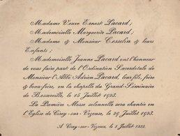 VP14.633 - CIREY SUR VEZOUSE 1923 - Faire - Part - Ordination Sacerdotale De Mr L' Abbé A. PACARD ...BOSSERVILLE - Announcements
