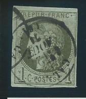 FRANCE: Obl., N° YT 39Ba, Rep.2, Olive Foncé, TB - 1870 Bordeaux Printing