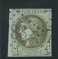 FRANCE: Obl., N° YT 39Cb, Rep 3, Olive Foncé, Signé Calves, TB - 1870 Ausgabe Bordeaux