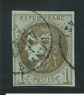 FRANCE: Obl., N° YT 39Cb, Rep 3, Olive Foncé, TB - 1870 Bordeaux Printing