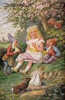GNOME - LUTIN - NAIN Et FILLETTE Avec LAPIN Et OEUF De PÂQUES / DWARF And GIRL With RABBIT And EASTER EGG ~ 1920 (aa540) - Scènes & Paysages