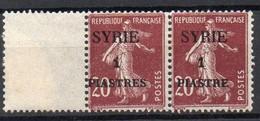 !!! PRIX FIXE : SYRIE, PAIRE DU N°109/109a VARIETE PIASTRES AVEC S NEUVE ** - Syria (1919-1945)