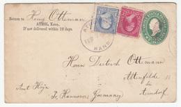 US, Postal Stationery Letter Cover Travelled 1895 Athol (KS) To Asendorf Via New York B190401 - Postal Stationery