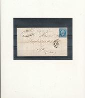 N°14 BLEU SUR AZURE SUR LETTRE AFFRANCHISSEMENT LYON. - 1853-1860 Napoléon III