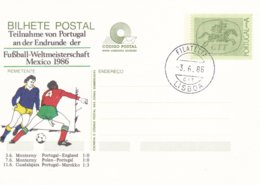 Portugal 1986 Postal Stationary Portugal Participating In World Cup Mexico Football (G99-11) - 1986 – México