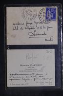 FRANCE - Type Paix Perforé Sur Petite Enveloppe Avec Contenu ( Carte De Visite ) De Lyon Pour Larnod En 1939 - L 26870 - Perforés