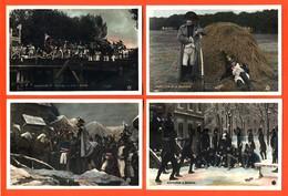 Suite Ou Série Complète De 10 CPA Glaçées Napoléon à Brienne , Austerlitz , Malmaison , Eapes - Pathé Frères - 3 Scans - Personaggi Storici