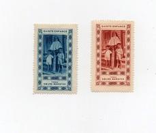 Erinnophilie Vignette Sainte Enfance Tonga Soeurs Maristes (2 Vignettes) - Tonga (1970-...)