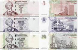 Transnistria 2007 - Set 1+5+10 Rublei - Pick 42-44 UNC - Andere