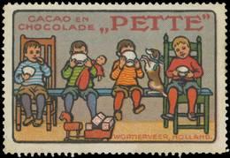 Wormerveer/Holland: Kinder Mit Kakao Und Schokolade Von Pette Reklamemarke - Cinderellas