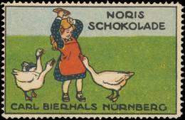 Nürnberg: Kind Mit Gänse Reklamemarke - Vignetten (Erinnophilie)