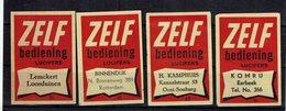 """4 ét. Boite Allumettes SUEDE """" ZELF """"( Bellening Lucifers ) - Boites D'allumettes - Etiquettes"""