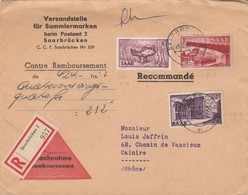BRIEF SAARLAND.  RECOMMANDÉ CONTRE REMBOURSEMENT SAARBRÜCKEN. Mi  286-321-320  TO FRANCE / 2 - [7] République Fédérale