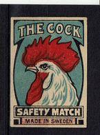 """SUEDE - Et. Boite Allumettes - """" The Cock """" - Boites D'allumettes - Etiquettes"""