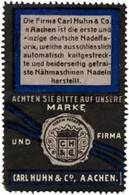 Aachen: Nähmaschinen Nadeln Reklamemarke - Erinnophilie