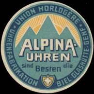 Biel, Glashütte, Genf: Alpina-Uhren Reklamemarke - Vignetten (Erinnophilie)