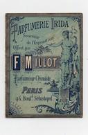 Carte Parfumée Chromo Parfumerie Irida Souvenir De L'exposition Universelle 1889 Lith. Nortier Offert Par F. Millot - Parfumkaarten