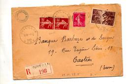 Lettre  Recommandée Ouveillan Sur Semeuse Mineur - Marcophilie (Lettres)