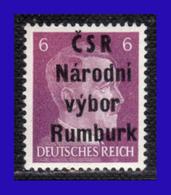 1945 - Checoslovaquia - Ocup. Alemana - Liberacion De La Ciudad De Rumburk. - 06 Pf. - MNH - CH- 004 - Tchécoslovaquie