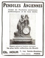 "PUB PENDULES ANCIENNES   "" CH. HOUR  ""   1908  ( 1 ) - Clocks"