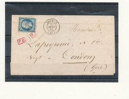 N°14 SUR LETTRE P.D.ROUGE - 1853-1860 Napoléon III