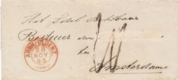 Nederland - 1865 - Takjestempel ARNH.-OLDENZ.  Op Omslag Naar Amsterdam - Nederland