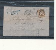 N°69 SUR LETTRE. - 1876-1878 Sage (Type I)