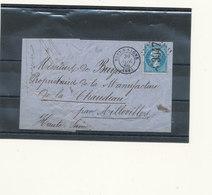 N°22 SUR LETTRE CACHET A CERCLE PERLE + CACHET BUREAU DE PASSE. - 1862 Napoleon III