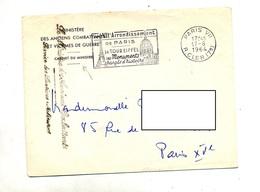 Lettre Franchise Flamme Paris VII Tour Eiffel Monument + Ministre Anciens Combattants - Oblitérations Mécaniques (flammes)
