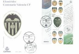 SPAIN 2019 - SOBRE NUESVO ESPECIAL CENTENARIO VALENCIA FOOTBALL CLUB 1919-2019 CON OBLI ESPECIAL 13/8/2019 LLIRIA CIUDAD - FDC