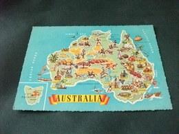 Carta Geografica Australia Tasmania PIN UP COSTUMI NAVE SHIP ETC. - Carte Geografiche