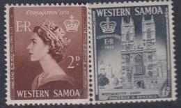 Samoa Mandat Néo-zélandais N° 159 / 60 X Couronnement D' Elisabeth II Les 2 Valeurs  Trace De Charnière Sinon TB - Samoa