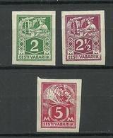 ESTLAND Estonia 1922/25 Michel 34 - 36 B * - Estland