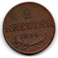 Autriche -  2 Kreuzer 1848 A  - Km # 2188  -  état  TB+ - Austria