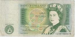 Gran Bretaña - Great Britain 1 Pound 1981 Pk 377 B Firma Somerset En Negro Ref 1 - 1 Pound