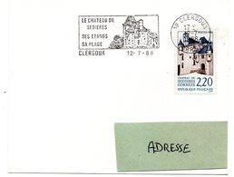 CHATEAU = 19 CLERGOUX 1988 = FLAMME CONCORDANTE N° 2546 = SECAP  Illustrée ' SEDIERES - étangs - Plage ' - Mechanical Postmarks (Advertisement)