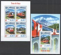 TT610 2013 MOZAMBIQUE MOCAMBIQUE TRANSPORT SWITZERLAND TRAINS TRENS DA SUICA KB+BL MNH - Trains