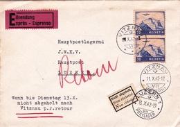 Lettre Exprès Vitznau 1942 Luzern Suisse Non Réclamé Eilsendung Switzerland Schweiz - Switzerland
