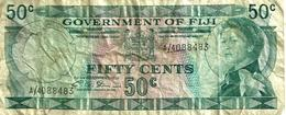 FIJI 50 CENTS GREEN QEII HEAD FRONT & LANDSCAPE BACK ND(1971)P.64b SIGNATURE C.A.STINSON F+ READ DESCRIPTION!! - Fiji