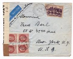 Lettre Villeneuve Sur Lot Lot Et Garonne 1942 New York USA Censure Examiner Timbres Pétain Lisbonne - 1941-42 Pétain