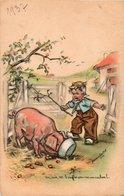 93Sv  Illustrateur Germaine Bouret 1936 Enfant Et Cochon - Bouret, Germaine