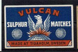 "Etiquette Boite Allumettes SUEDE - "" VULCAN "" DRAGON - Sulphur Matches - Boites D'allumettes - Etiquettes"