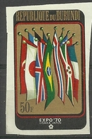 Burundi - 1970 Osaka World Fair 50f Imperf  MH*   Sc 335 - Burundi