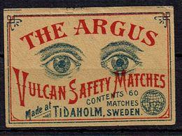 "Etiquette Boite Allumettes SUEDE - "" The Argus Vulcan Safety Matches "" - Boites D'allumettes - Etiquettes"