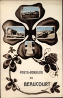 Kleeblatt Passepartout Cp Beaucourt Territoire De Belfort, Vue Générale, La Gare, Monument - Sonstige Gemeinden