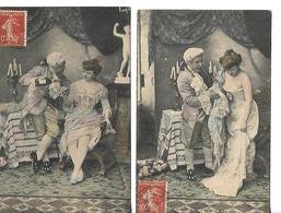 Série Deux Cartes Anciennes écrites 1909 Amoureux  Décoleté Jenoux Découverts Beau Dessous Dentelle Vin - Humour