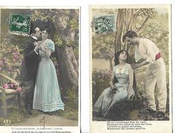 Série 2 Cartes Anciennes écrites 1907 Amoureux - Humour