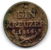 Autriche -  1 Kreuzer 1816 A  - Km # 2113  -  état  B+ - Austria