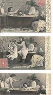 Série 5 Cartes Anciennes écrites 1907 Deux Belles Femmes En Beaux Dessous Dentelles Sexy - Humour